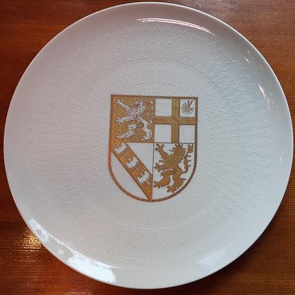 Rosenthal Teller - Nr.2075 / weiß mit goldenem Wappen Saarland