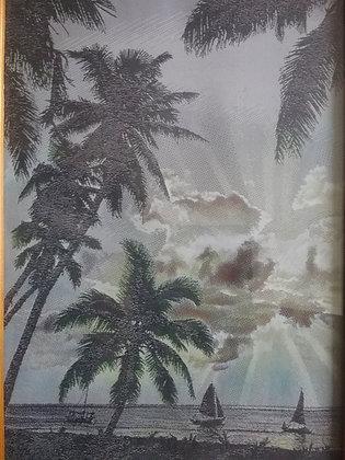 unter Palmen - maritim - Seidenbild