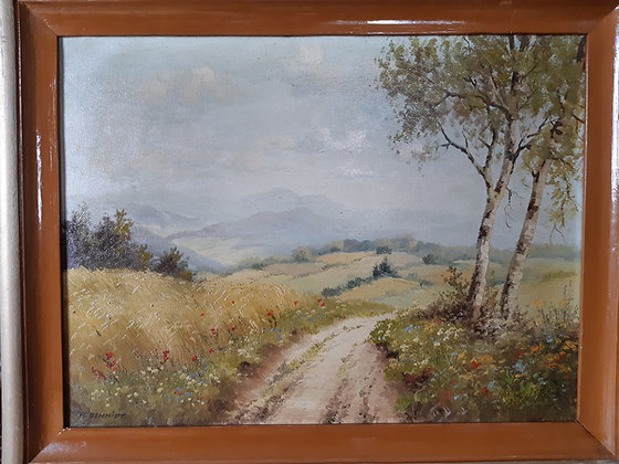 K.SCHMIDT - orig. Gemälde Erzgebirge, Feldweg mit Birke