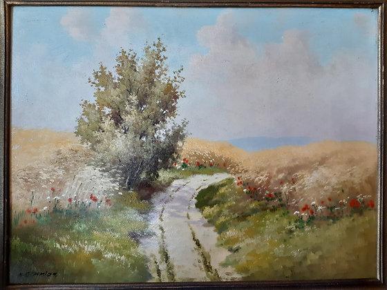 K.SCHMIDT. - orig. Gemälde Feldweg
