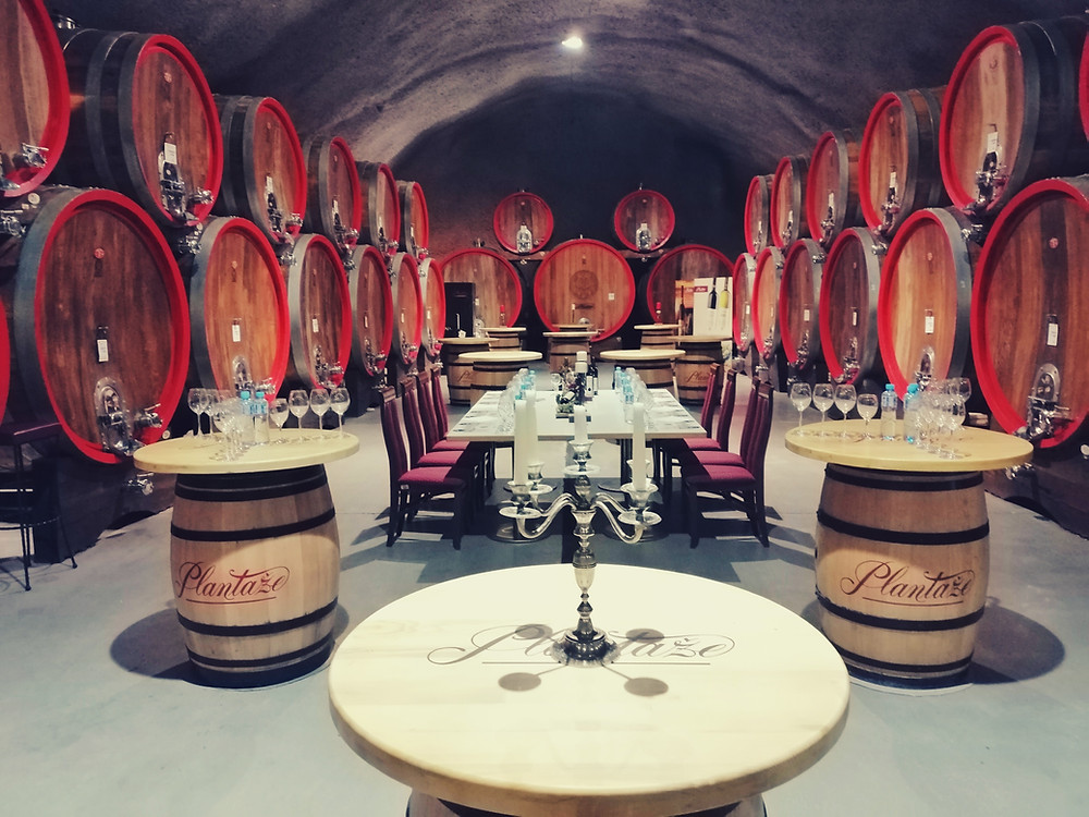 Gala dinner in wine cellar