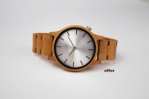 Orange Otter bamboo wooden watch front