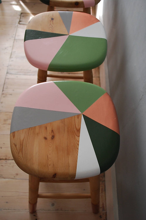 Bar stool set hand painted with triangle design by Orange Otter from above