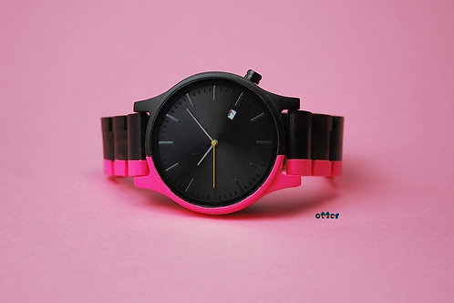Neon pink painted Orange Otter sandalwood watch front
