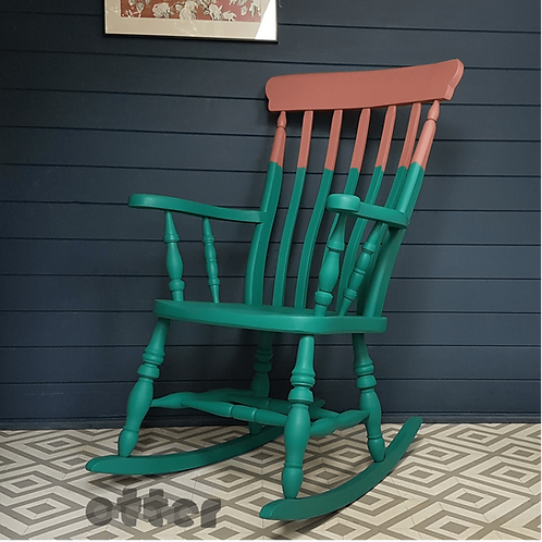 Teal and pink painted rocking chair by Orange Otter angled