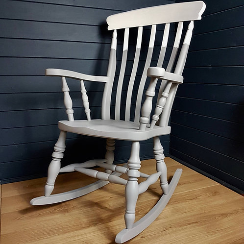 Two-tone grey painted wooden rocking chair