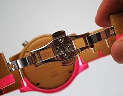 Orange Otter wooden watch butterfly fastener