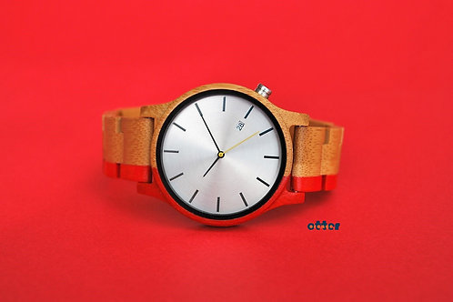 Red painted Orange Otter bamboo wooden watch front