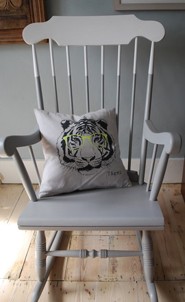 Grey and white rocking chair