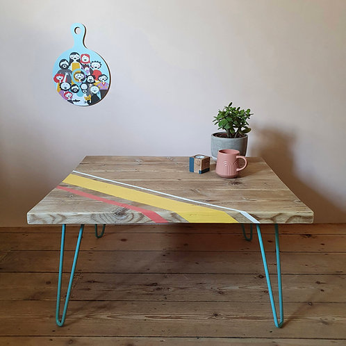 Painted reclaimed scaffold board coffee table