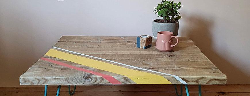 Reclaimed scaffold board coffee table, colourful stripe design