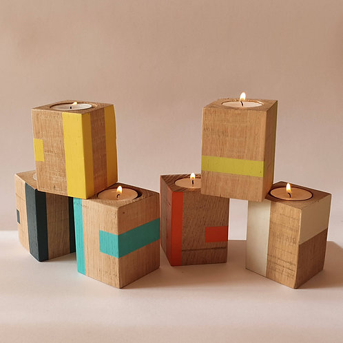 Group of tall oak candle cube from Orange Otter