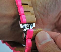 Closing Orange Otter wooden watch strap