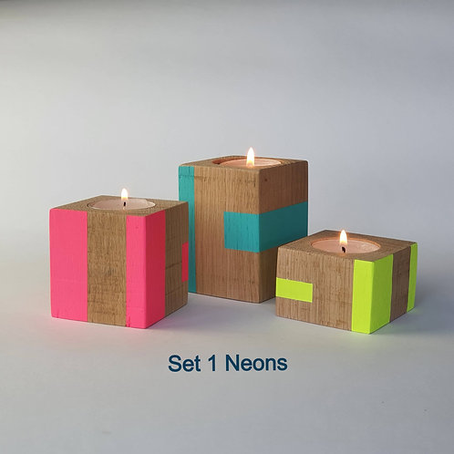 Neon set of three candle cubes from Orange Otter