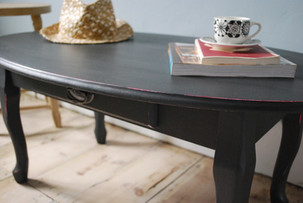 Charcoal and neon pink coffee table