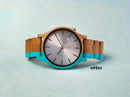 Azure blue painted Orange Otter bamboo wooden watch front