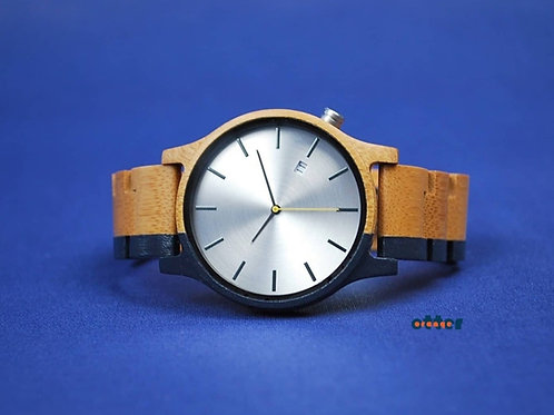 Midnight blue painted Orange Otter bamboo wooden watch front