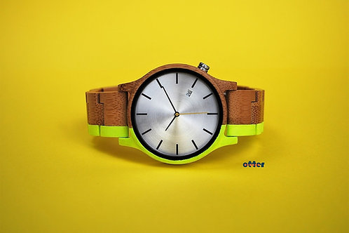 Neon yellow painted Orange Otter bamboo wooden watch front