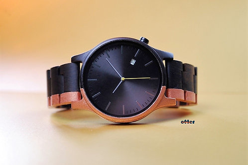 Copper painted Orange Otter sandalwood watch front