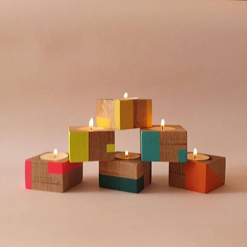Tiny oak candle cube group from Orange Otter
