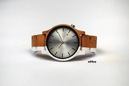 White painted Orange Otter bamboo wooden watch front