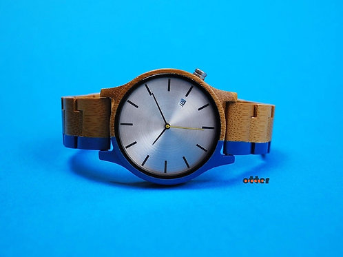Blue painted Orange Otter bamboo wooden watch front