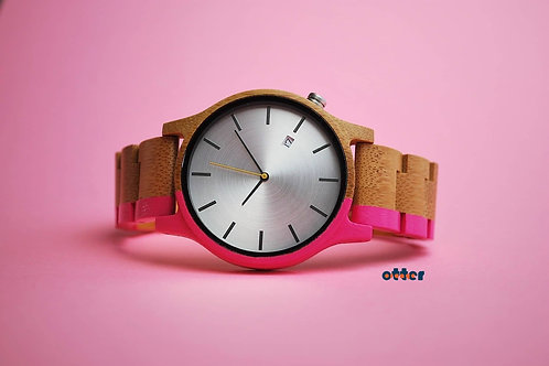 Pink painted Orange Otter bamboo watch front