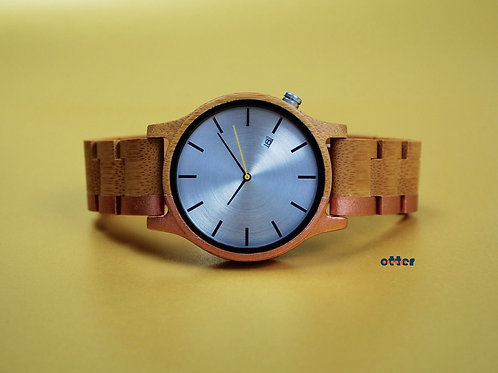 Copper painted Orange Otter bamboo wooden watch front