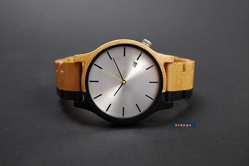 Black painted Orange Otter bamboo wooden watch front