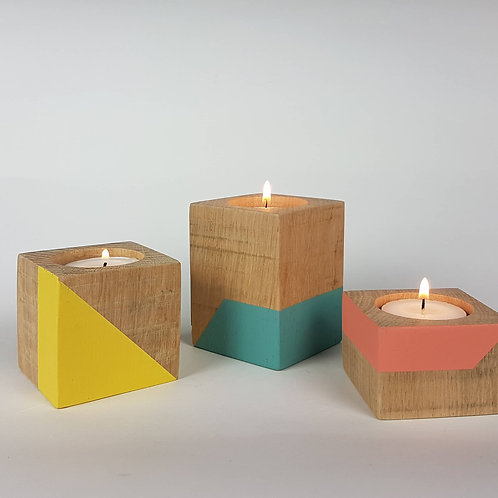 Set of three oak wood candle cubes