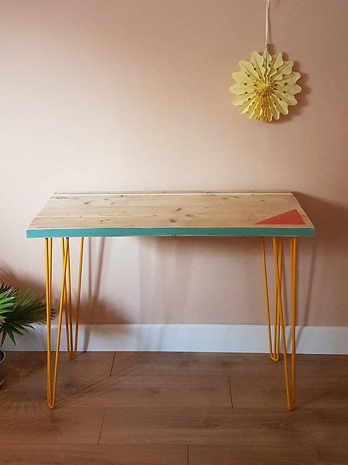 Reclaimed scaffold board desk triangle design by Orange Otter