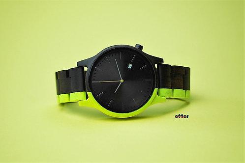Neon yellow painted Orange Otter sandalwood watch front
