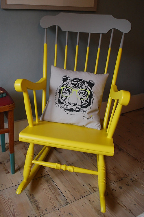 Yellow and grey painted rocking chair by Orange Otter