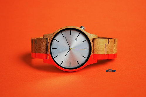 Neon orange painted Orange Otter bamboo wooden watch front