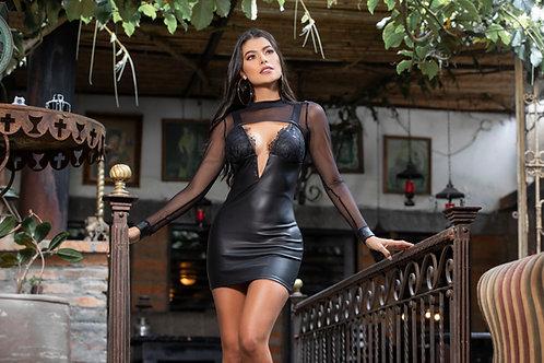 Vestido Cuero Escote v Encaje Luxury