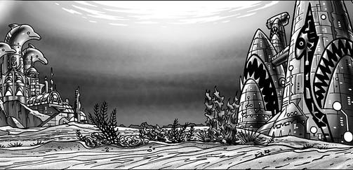 "BG design for Duck Dodgers (S3 Episode 8) ""The Fins of War"""