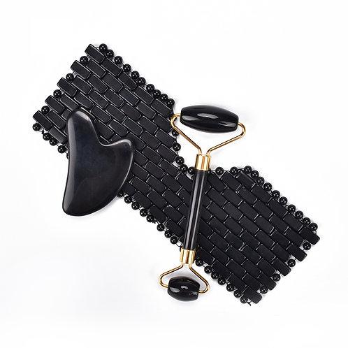 Obsidian Eye mask, Gua Sha & Roller