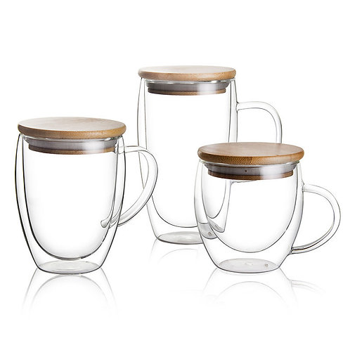 London double Cup lid set of 6 with bambo lids