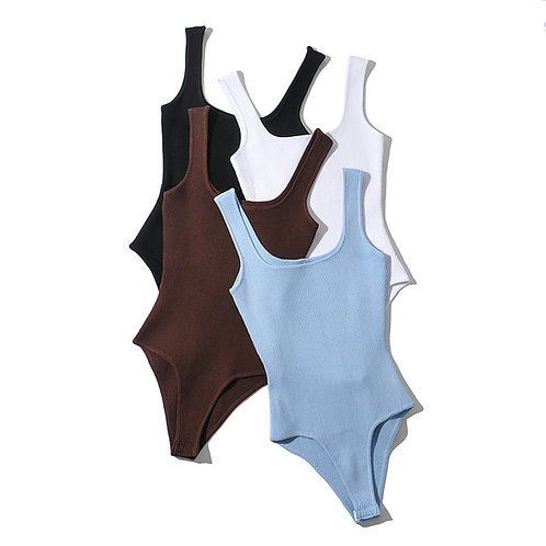 Ribbed one piece bodysuit