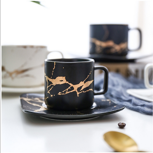 Marble coffee cups set of 4