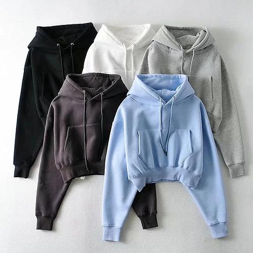 Cropped Hoodie Plus Size Sweatshirt Fleece 100% Cotton