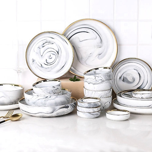 Ava Gold Plated Marble Party Set Ceramic Tableware 24 piece
