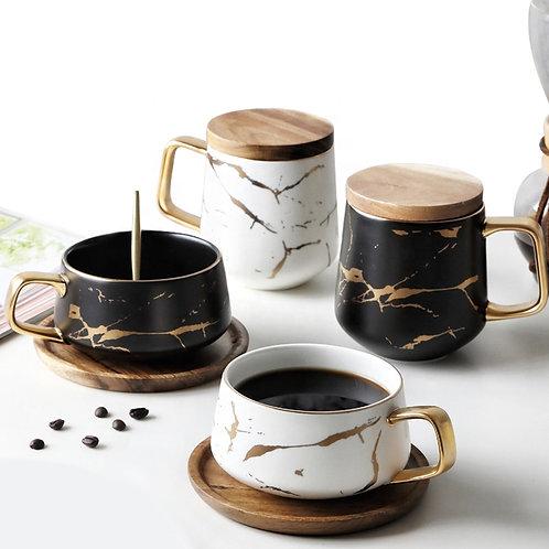 Marble Grain Ceramic Coffee Cups set of 4