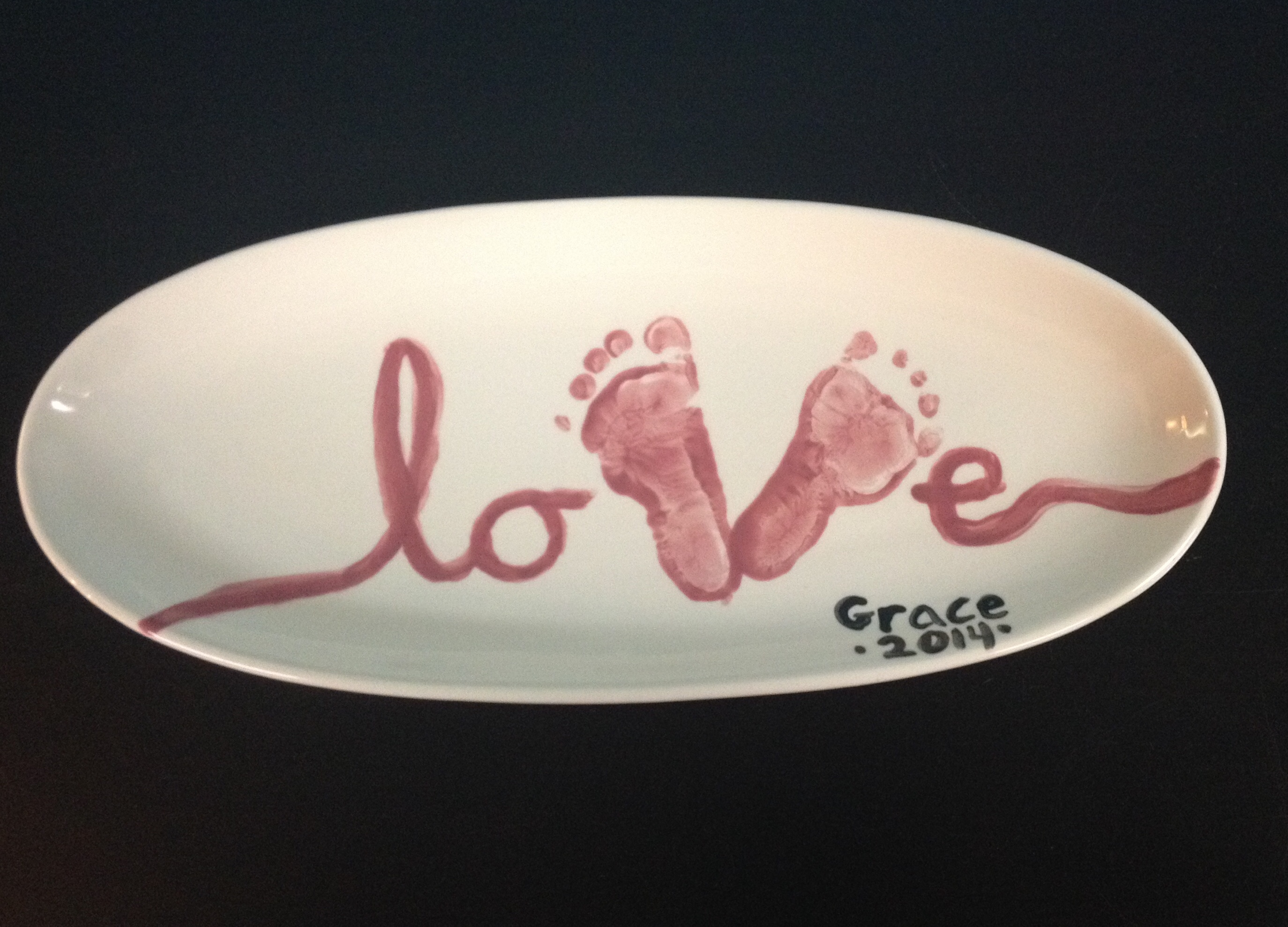 Love footprint plate