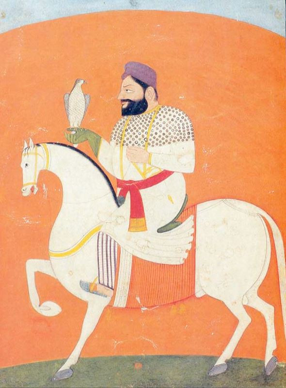 Claimed contemporary painting of Guru Hargobind held by the Sodhi family in Kartarpur.