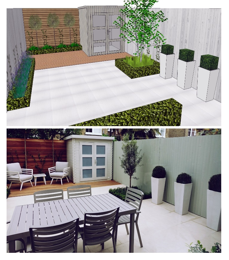 3-D concept garden design before and aft