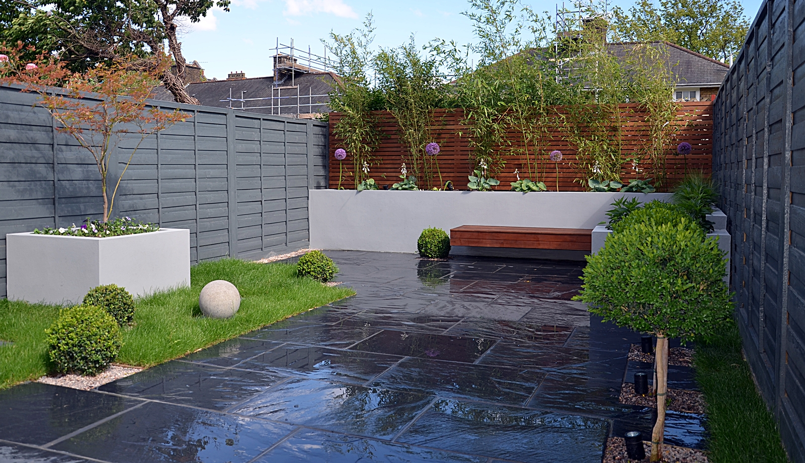 contemporary modern sleek garden design london patio raised bed planting