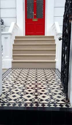 York stone bull nose steps victorian mosaic tile path clapham chelsea fulham notting hill battersea