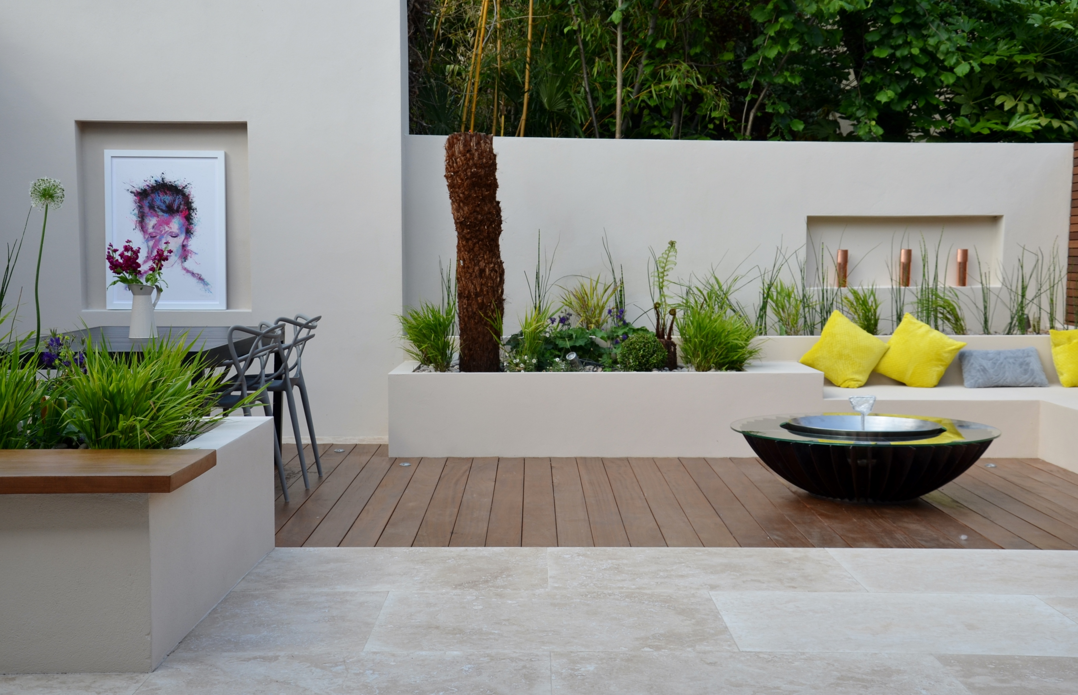 modern garden design outdoor room with kitchen seating  mayfair