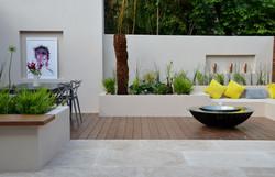 modern garden design outdoor room with kitchen seating  mayfair
